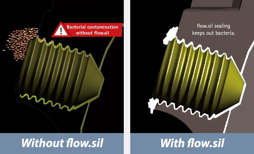 without flow.sil VS with flow.sil by bredent
